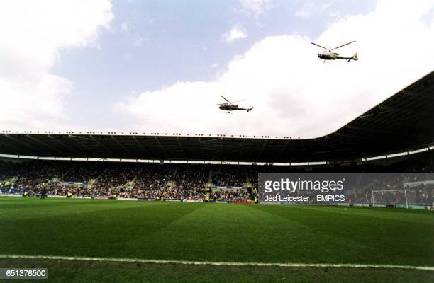 Two helicopters arrive at Reading's Madejski Stadium one carrying Chairman John Madejski with the matchball