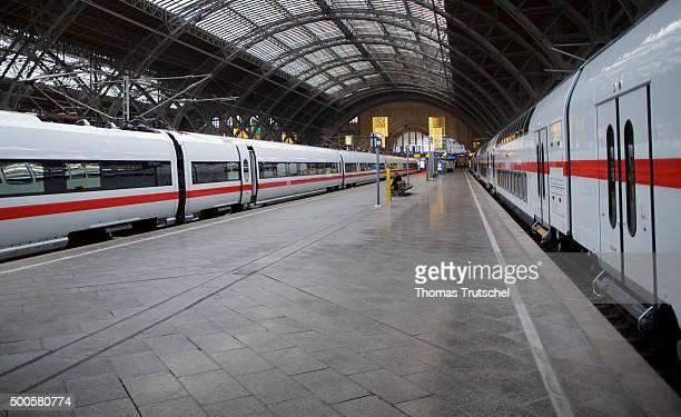 Two highspeed trains of Deutsche Bahn AG are in Leipzig Hauptbahnhof along a deserted platform on December 09 2015 in Leipzig Germany