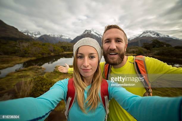 Two hikers take selfie portrait, Autumn