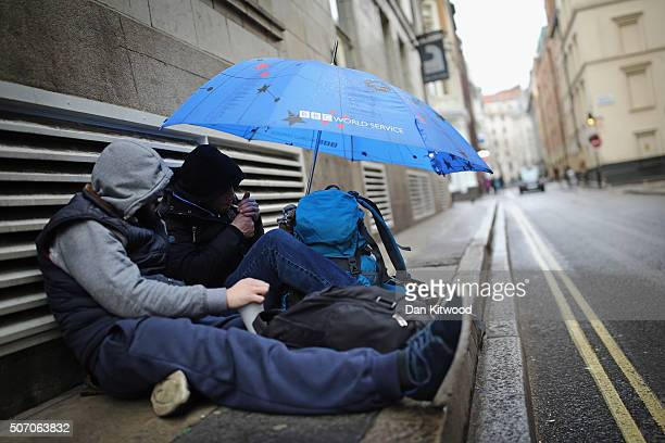 Two homeless men sleep near Trafalgar Square on January 27 2016 in London England A group of 21 charities including Crisis St Mungos and Centrepoint...