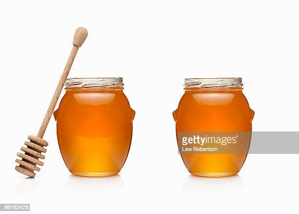 Two Honey Jars and a honey dipper
