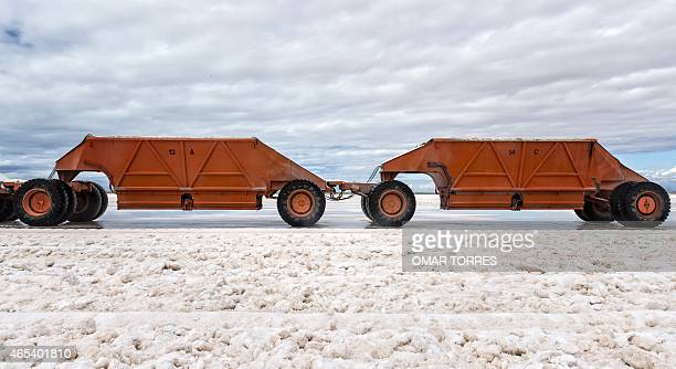 Two huge trucks containing salt after its collection seen at the Exportadora de Sal company plant in Guerrero Negro Baja California Sur state Mexico...