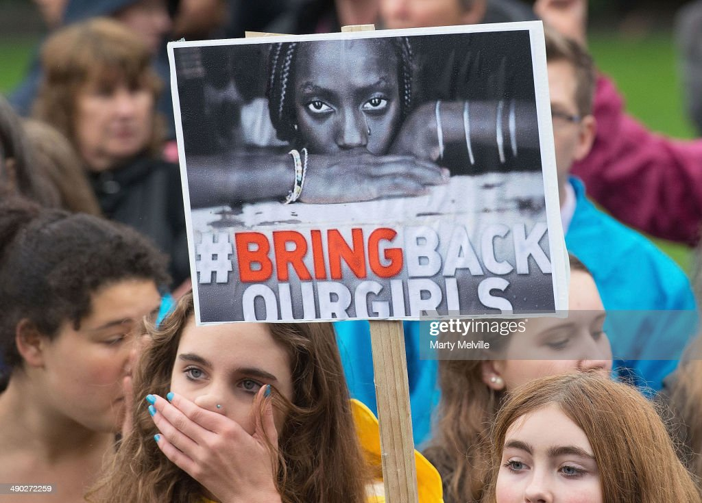 Two hundred and seventy Wellington school girls protest against the abduction of Nigerian schoolgirls as they march to Parliament grounds on May 14...