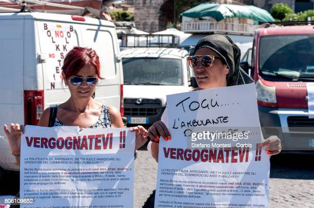 Two hundred street vendors have occupied piazza Bocca della Verita in front of the Department of Commerce to protest against the European directive...