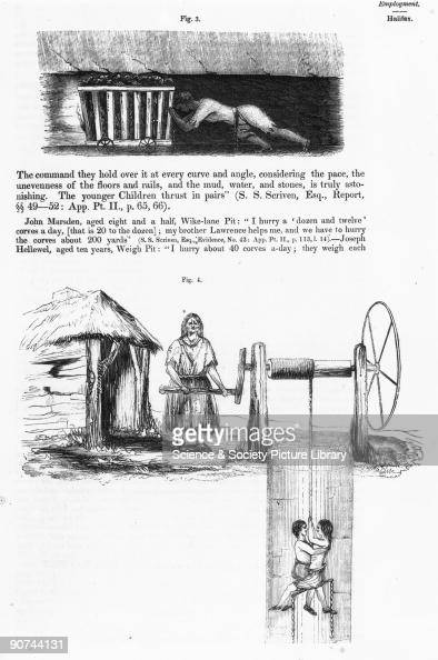 Two illustrations from the Report of the Children's Employment Commission 1842 The top image shows a �hurrier� pushing a loaded �corve� along a low...
