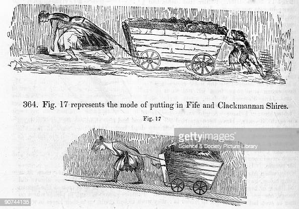Two illustrations from the Report of the Children's Employment Commission The first image shows a girl in Fife putting a loaded hutchie or trolley...