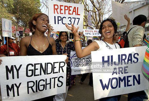 Two Indian Hijras or transexuals lead a protest march of sex workers at the 2004 World Social Forum in Bombay 18 January 2004 Antiglobalisation...