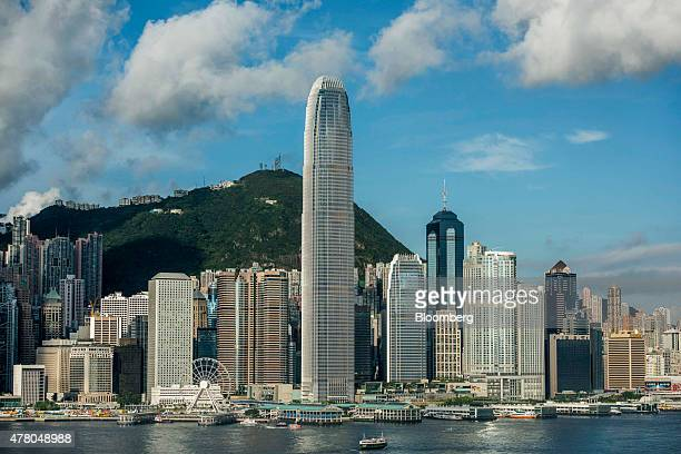 Two International Finance Centre center and other commercial and residential buildings standing on Hong Kong island are seen from the Tsim Sha Tsui...