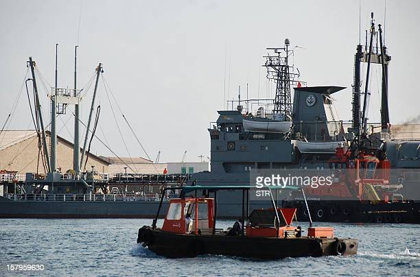 Two Iranian warships dock in the Sudanese Red Sea city of Port Sudan on December 8 2012 The Iranian navy said the 1400 ton frigate Jamaran and the...