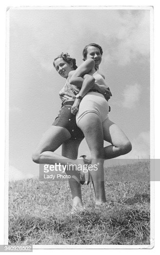 Two italian women in swimsuit in 1934 : Stock Photo