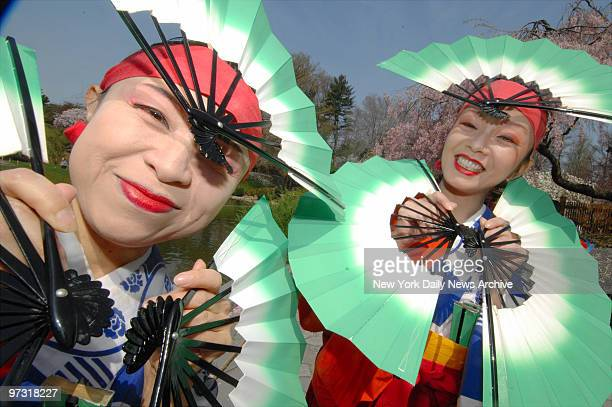 Two Japanese performers take part in the Cherry Blossom Festival in the Brooklyn Botanic Garden