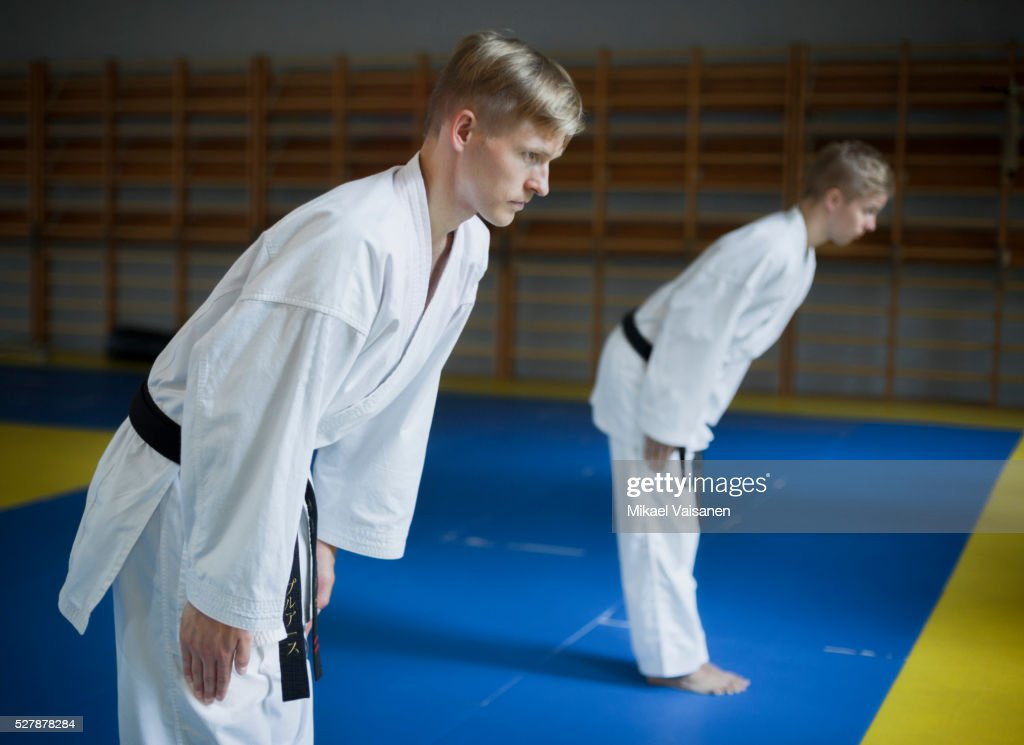 Two karate practioners at training