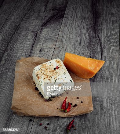 Two kinds of cheese : Stock Photo