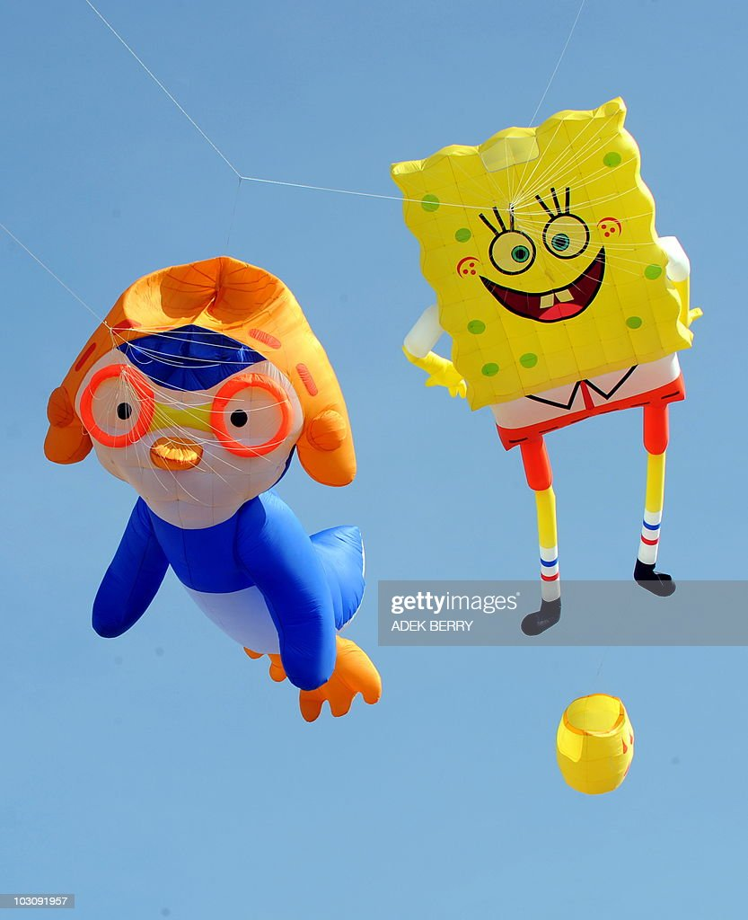 two kites featuring cartoon characters p pictures getty images