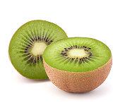 Two kiwi fruit sliced halves  on white background