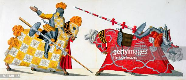 Two knights at a tournament 1842 Plate from A History of the Development and Customs of Chivalry by Dr Franz Kottenkamp 1842