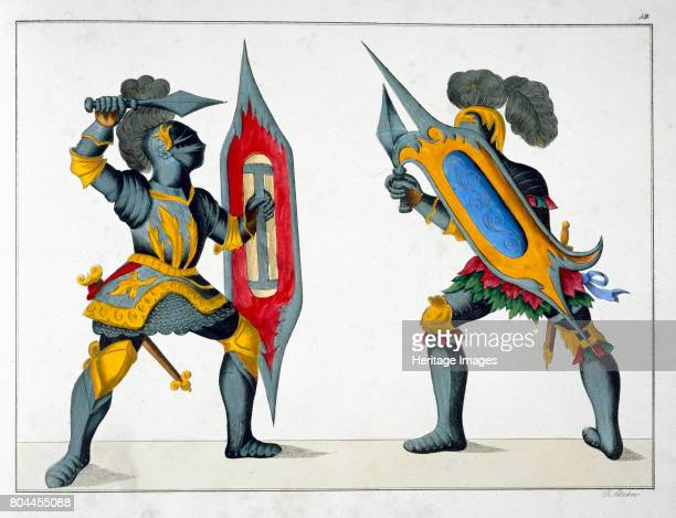 Two knights fighting on foot 1842 Plate from A History of the Development and Customs of Chivalry by Dr Franz Kottenkamp Artist Friedrich Martin von...