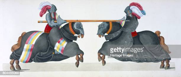 Two knights jousting at a tournament 1842 Plate from A History of the Development and Customs of Chivalry by Dr Franz Kottenkamp Artist Friedrich...