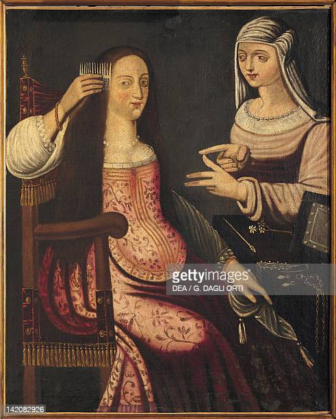 Two Ladies 16th century painting from the German School France Loire Valley Gue Pean Castle