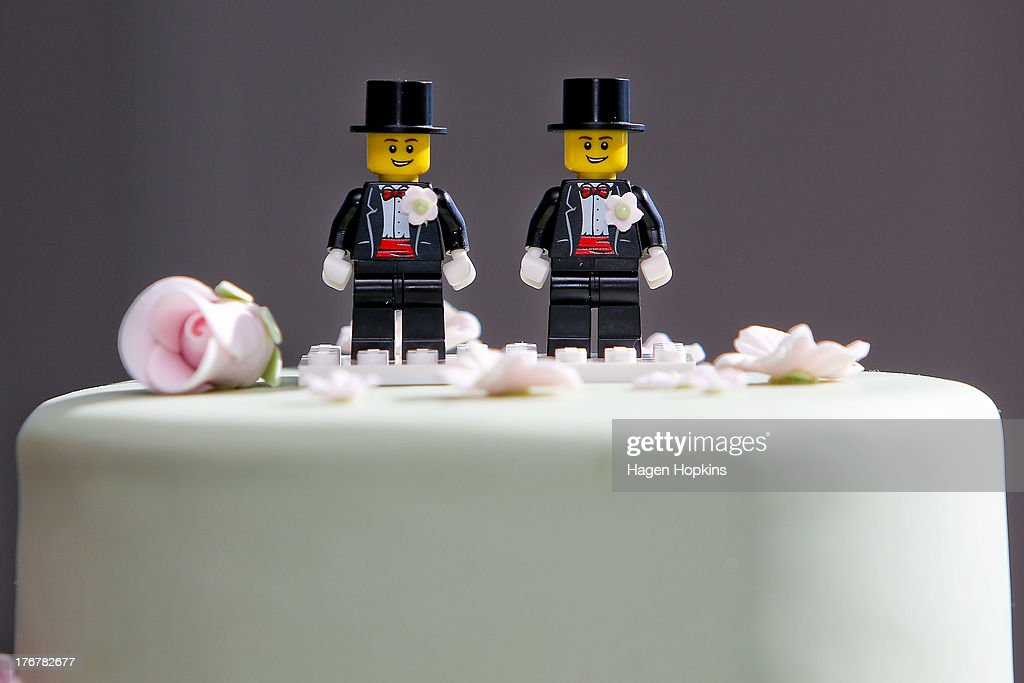 Two Lego men decorate the top of Paul McCarthy and Trent Kandler's wedding cake prior to the reception at Martin Bosley's on August 19, 2013 in Wellington, New Zealand. Australian gay couple Paul McCarthy and Trent Kandler were flown to Wellington by Tourism New Zealand in a promotion to highlight to Australians that same-sex marriage is legal in New Zealand.