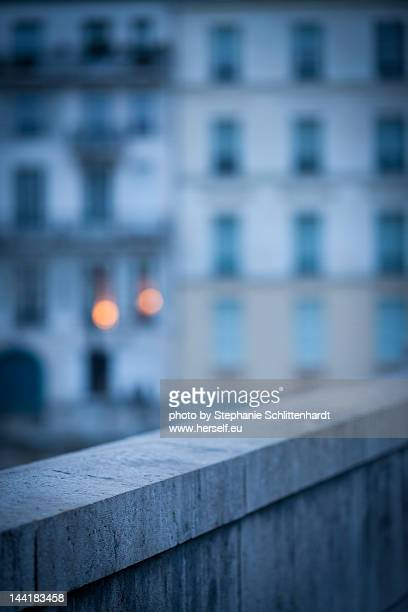 Two lights glowing in dawn in Paris