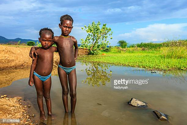 Two little boys from Samai tribe, Ethiopia, Africa