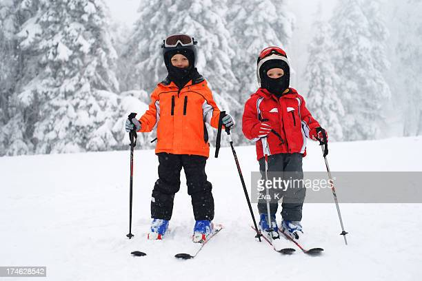 two little skiers