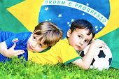 Two little soccer fans - Italy vs Brazil