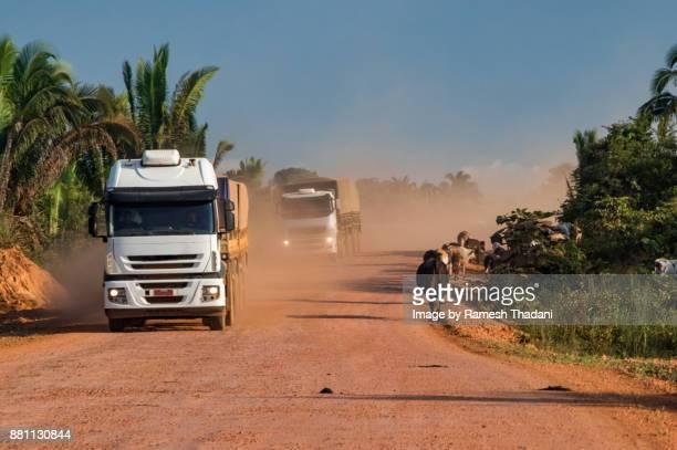 Two long-haul grain trucks