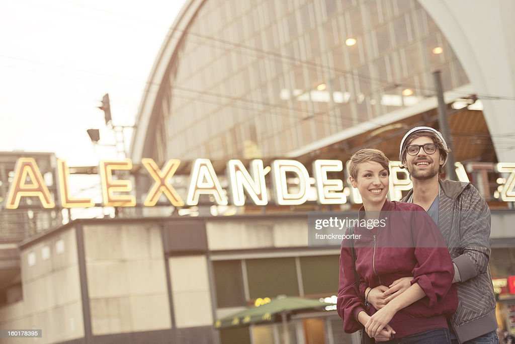 Two lovers tourist on Alexanderplatz - Berlin : Stock Photo