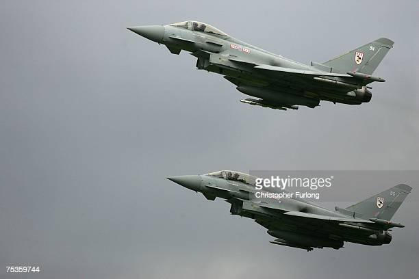 Two low flying Eurofighter Typhoons take off on July 11 2007 at RAF Coningsby in Lincolnshire England The RAF's Number 3 Squadron is now on full...