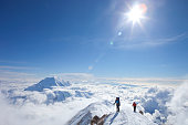Two male climbers at the ridge between 14k and 17k camp on Mount McKinley, Alaska.