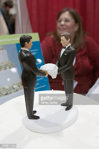 Two male figurines grace a fake wedding cake at the third annual 'SameSex Wedding Expo'