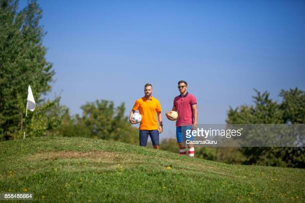 Two Male FootGolf Athletes On Golf Course