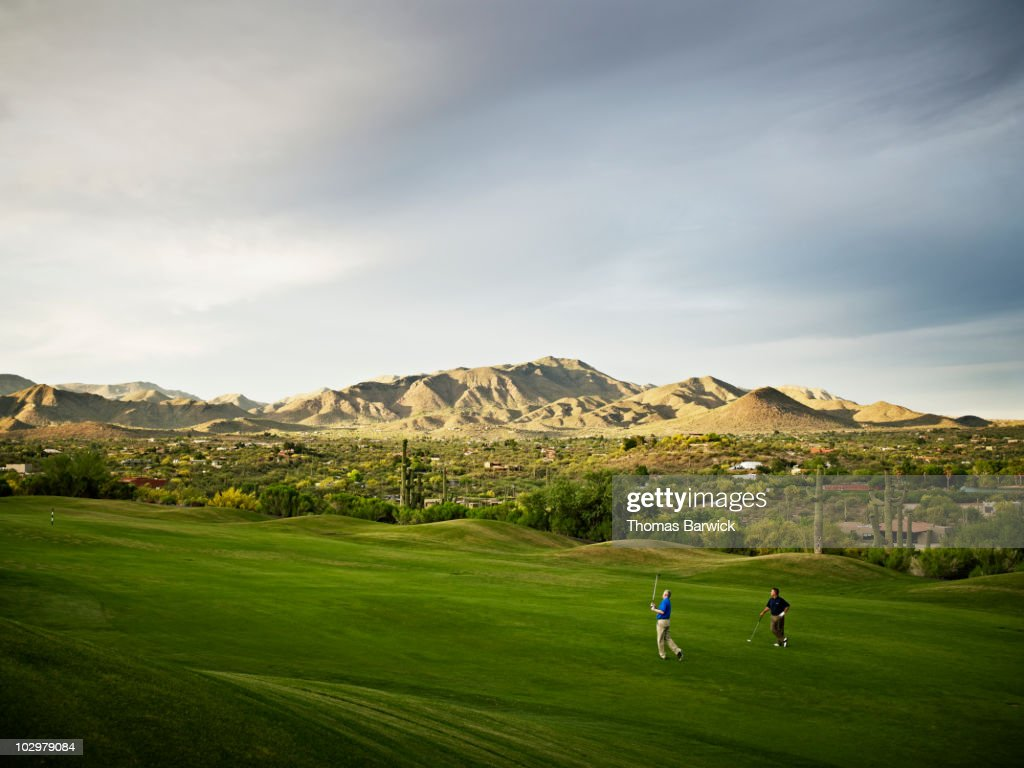 Two male golfers playing on fairway of golf course : Stock Photo