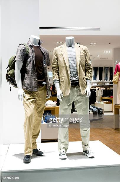 Two male mannequins in a store