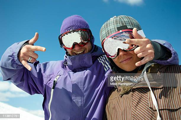 Two Male Skiers On Bansko Mountains