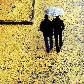 Two man sharing umbrella