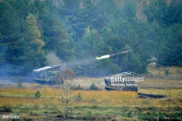 Two Mars rocket launcher tanks of the Bundeswehr the German armed forces during a simulated attack during military exercises on October 10 20187 near...