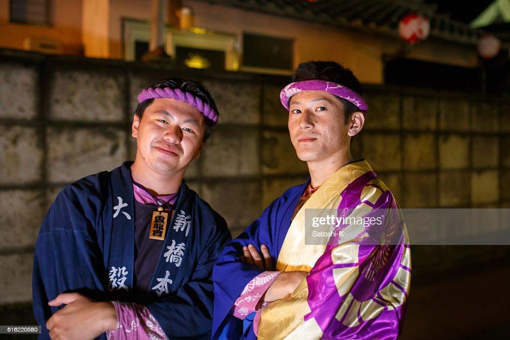 Two Matsuri Guys - Sawara Autumn Festival : Stockfoto