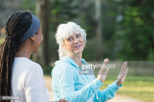 Two mature women in the park doing tai chi exercises : Stock Photo