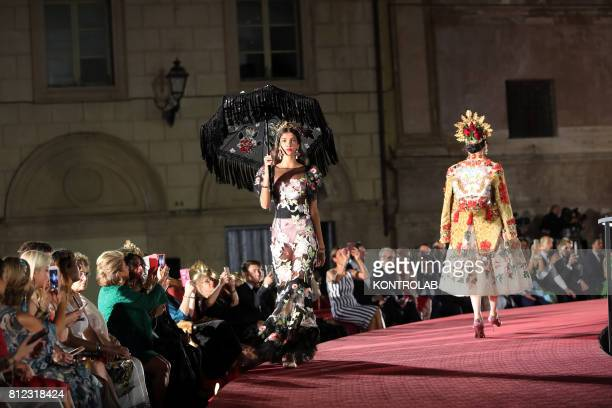 SQUARE PALERMO SICILY ITALY Two mdels during the parade of Dolce and Gabbana in Pretoria Square in Palermo Sicily southern Italy
