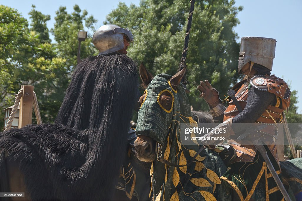 Two medieval knights on horseback : Stock Photo