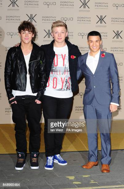 Two members of District 3 and Jahmene Douglas arriving at a party to celebrate the UK launch of the Kardashian Kollection at Aqua London PRESS...