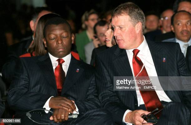 Two members of England's delegation Garth Crooks and Geoff Hurst