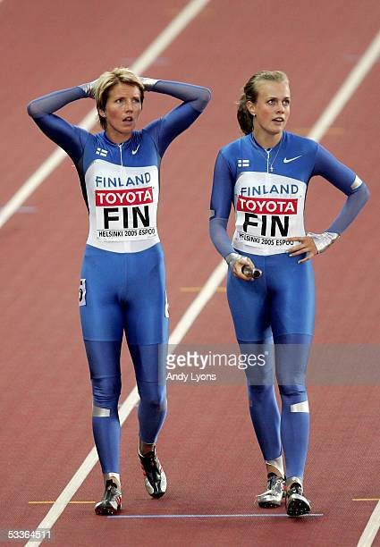 Two members of the Finish women relay team are seen after the heats of the women's 4x100 Metres Relay at the 10th IAAF World Athletics Championships...