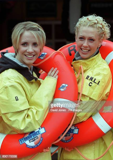 Two members of the Pop group Steps Claire Richards and Faye Tozer at Drayton Manor Theme Park where they launch the new Stormforce 10 whiteknuckle...
