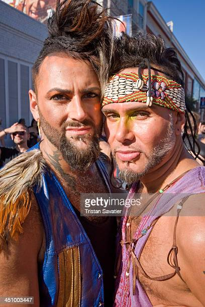 CONTENT] Two men at the annual Folsom Street Fair in San Francisco The Folsom Street Fair is an annual fetish BDSM and leather subculture street fair...