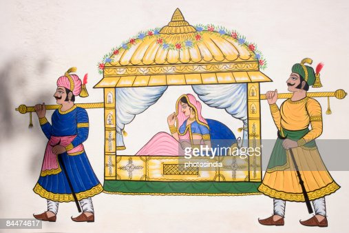 Two men carrying the palanquin of a bride : Stock Photo