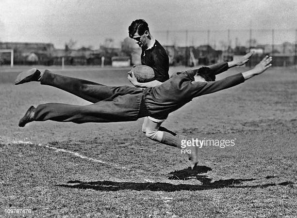 Two men during a rugby training session in Berlin Germany circa 1930